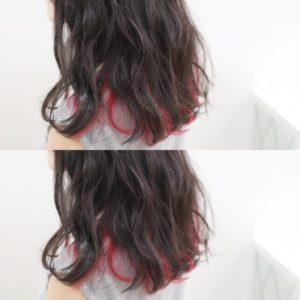 ピンクインナーヘアカラー